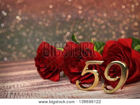 birthday concept with red roses on wooden desk. 3D render - fifty-nineth birthday. 59th