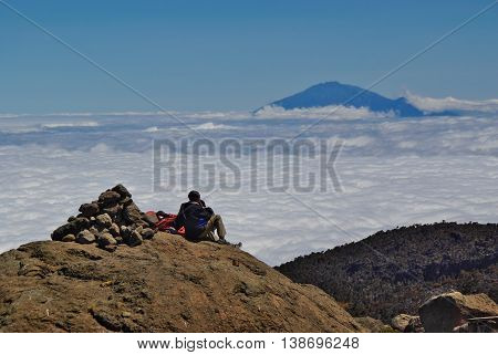 Resting porter on Kilimanjaro. Barranco camp along Machame Route