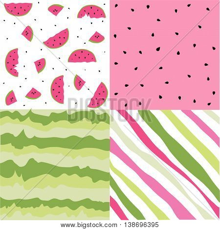 Seamless pattern with watermelon set, scrapbooking, summer digital paper watermelon set