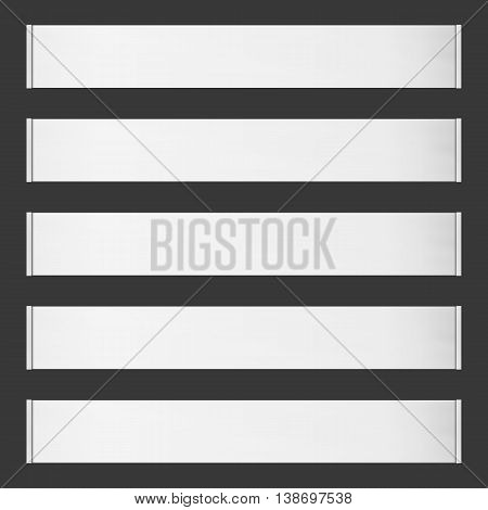 Five horizontal vector roll blank banners on black background. Place for any message.
