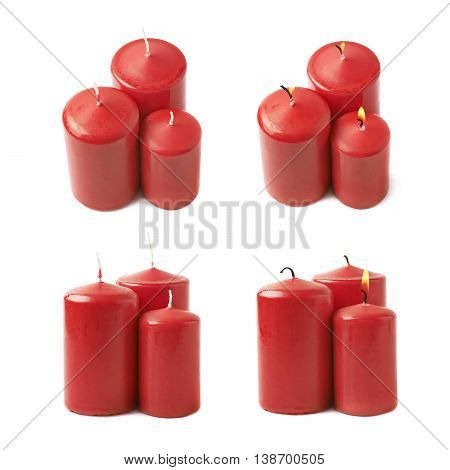Three burning red candles, composition isolated over the white background, set of four different foreshortenings