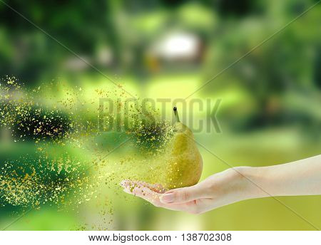 Hand holding pear in state of disintegration on nature background