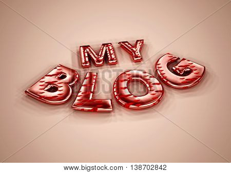 Glossy three-dimensional inscription My Blog on dimensional background. 3D illustration.