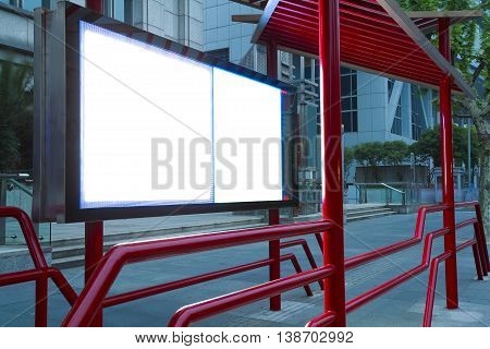 Modern city advertising light of tv boxes