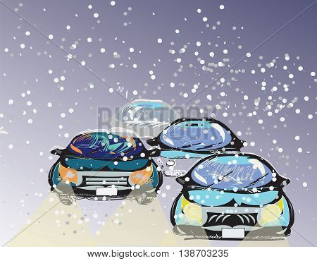 Illustration of the cartoon like cars driving through a snowstorm