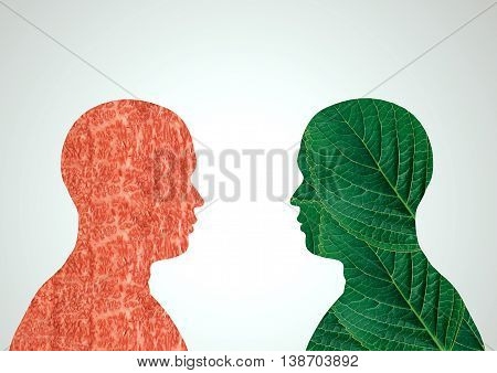 Meat and foliage in the form of people, a dilemma between a healthy life and another without rules