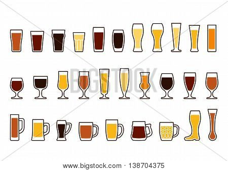 Set icons of beer mugs and glasses vector illustration