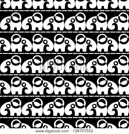 black seamless pattern with white abstract elephant. vector.