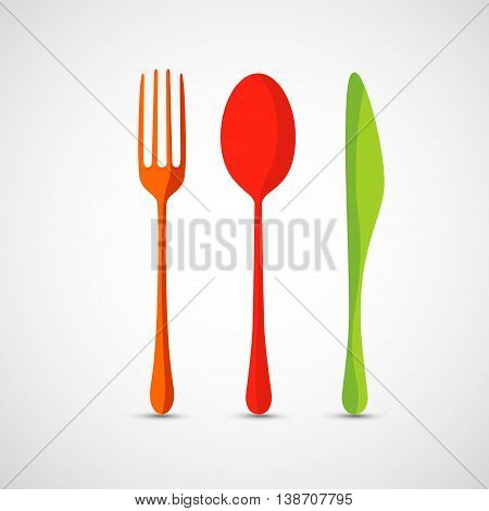 This is a vector illustration of Fork, spoon and knife vector icons