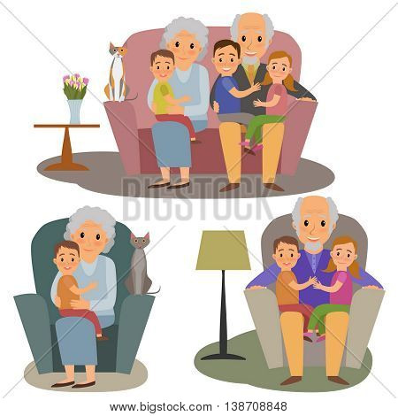 Big Family set. Happy family whith grandchildrens and grandparents sitting on the sofa whith cat