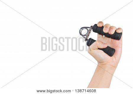 The man's hand handle with handgrip on white background