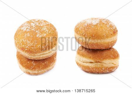 Jam filled doughnut isolated over the white background, set of two different foreshortenings