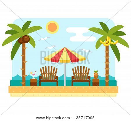 Beach umbrella and chair. Flat beach scene with parasol, chair, sea and palm tree. Two dackchairs and umbrella. Summer beach and ocean waves landscape. Tropical paradise with longue and umbrella