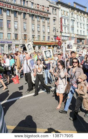 St. Petersburg, Russia - 9 May, Adults and adolescents in the action