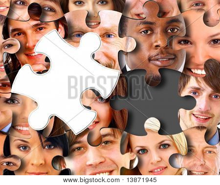 Group of business people in pieces of a puzzle