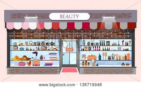 Beauty store fashion shop building showcases with fashionable clothes cosmetics vector cartoon illustration