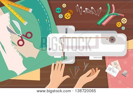 Seamstress work on sewing machine top view professional tailoring manufacture of wearing apparel vector catoon illustration