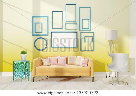 Contemporary Living Room With Medium Poster