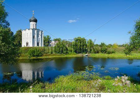 Beautiful summer view of Church of Intercession on Nerl near village of Bogolyubovo Vladimir region Russia