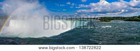 Niagara Falls looking at the Horseshoe, with a rainbow