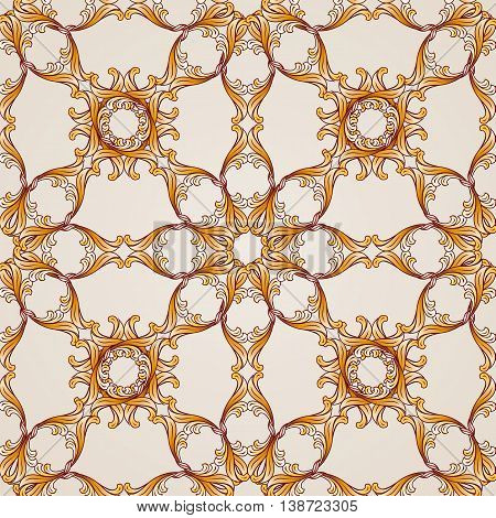 Saturated seamless abstract floral pattern in the form of ornate golden flowers