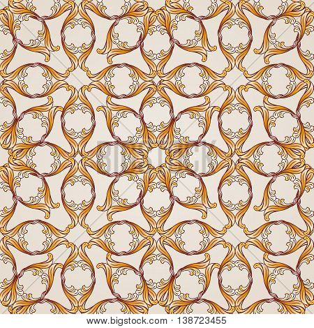 Saturated seamless abstract floral pattern in the form of golden flowers