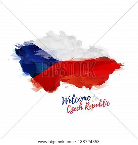 ymbol, poster, banner Czech Republic. Map of Czech Republic with the decoration of the national flag. Style watercolor drawing. Vector illustration
