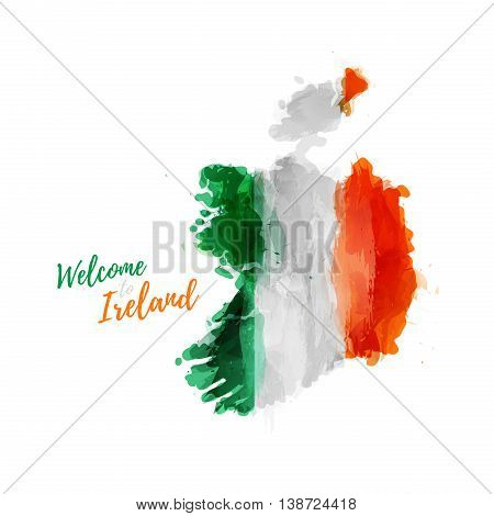 Symbol, poster, banner Ireland. Map of Ireland with the decoration of the national flag. Style watercolor drawing. Ireland map with national flag. Vector illustration