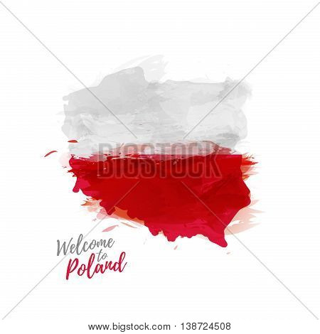 Symbol, poster, print, banner Poland. Map of Poland with the decoration of the national flag. The Polish national flag in watercolor style drawing. Vector illustration