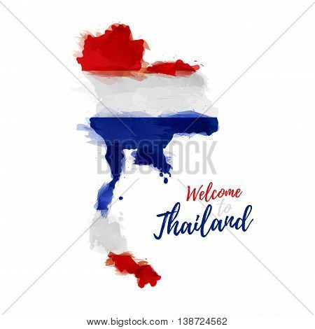 Symbol, poster, banner Thailand. Map of Thailand with the decoration of the national flag. Style watercolor drawing. Thailand map with national flag. Vector