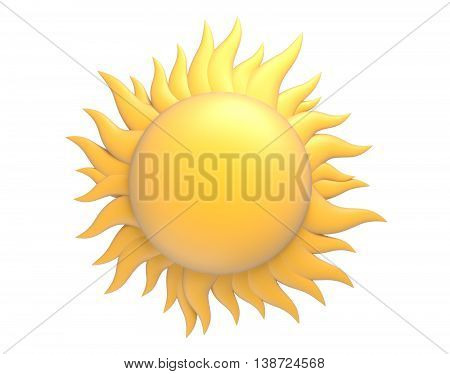 cartoon sun with protuberance and beams 3d render