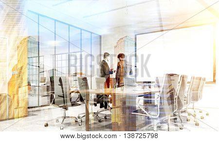 Teamwork Concept Double Exposure