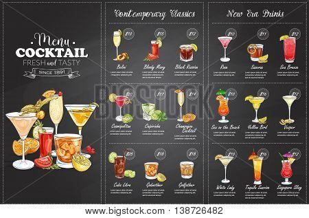 Front Drawing horisontal cocktail menu design on blackboard background
