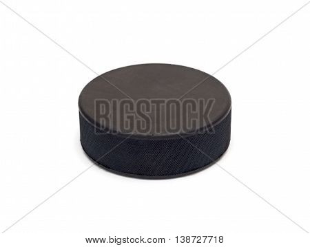 little hockey puck isolated on white background