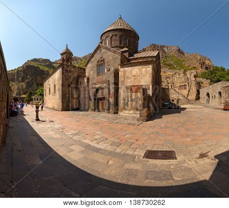 The Ancient Christian Temple Geghard In The Mountains Of Armenia.