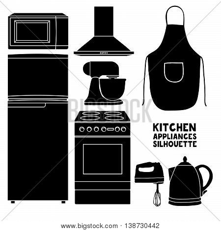 Set of kitchen device silhouettes. Kitchen household silhouettes furniture in a cartoon style. Silhouette of kitchen tools and accessories. Appliances for kitchen interior. Vector illustration