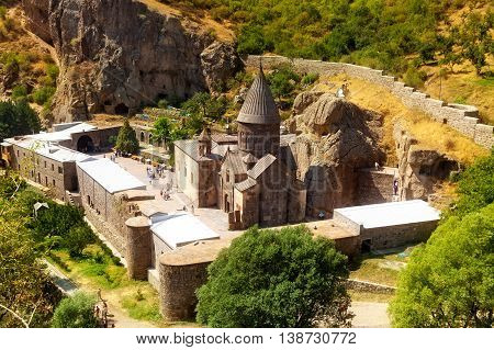 The Top View On The Ancient Armenian Geghard Temple Complex