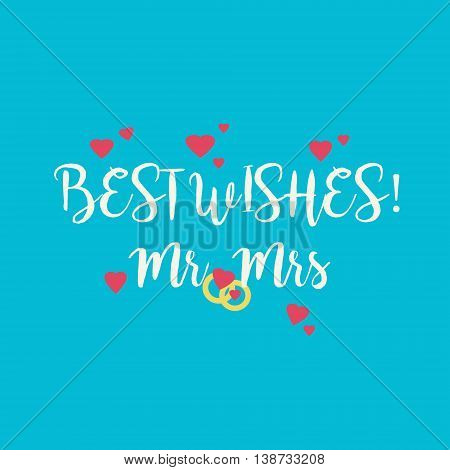 Cute blue wedding Best Wishes Mr Mrs congratulations card with pink hearts and golden rings.
