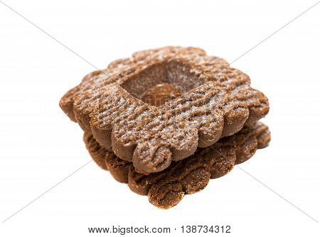 square sugary dessert  cookies isolated on white background