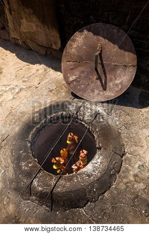 The Shish Kebab Which Is Fried In The Underground Furnace The Tandoor