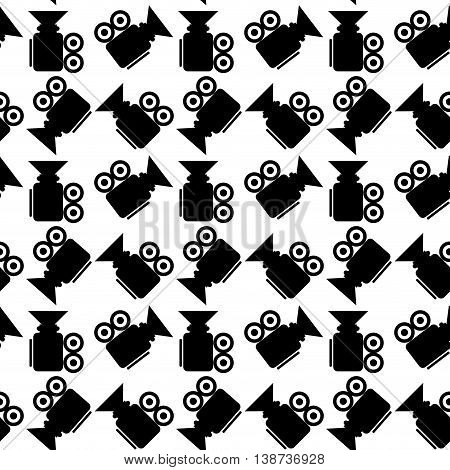 Seamless pattern video camera. Monochrome background media cinematography vector illustration