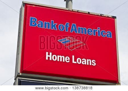 Marion IN - Circa July 2016: Bank of America Home Loan Branch. Bank of America is a Banking and Financial Services Corporation I