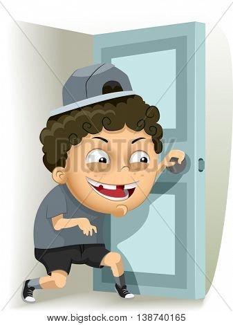 Illustration of a Mischievous Little Boy Sneaking Out