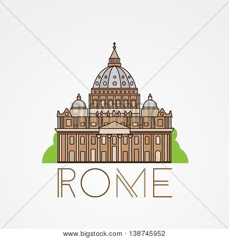 World famous St. Peter Basilica Greatest Landmarks of europe.. Linear vector icon for Vatican Rome Italy. Minimalist one line travel sign