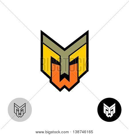 Evil daemon robot tech face logo. Letters Y M and W monogram.