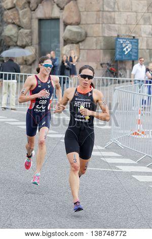 STOCKHOLM - JUL 02 2016: Triathletes Andrea Hewitt and Helen Jenkins running in the Women's ITU World Triathlon series event July 02 2016 in Stockholm Sweden