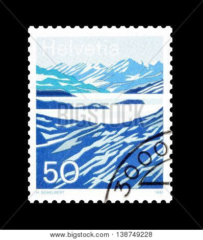 SWITZERLAND - CIRCA 1991 : Cancelled postage stamp printed by Switzerland, that shows Lago Moesola.