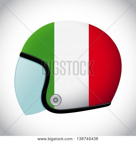 Vector stock of retro classic motorcycle helmet with Italy flag