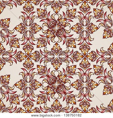 Saturated ornate seamless abstract floral pattern in shades of brown