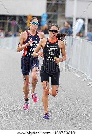 STOCKHOLM - JUL 02 2016: Female running triathletes Andrea Hewitt and Helen Jenkins in the Women's ITU World Triathlon series event July 02 2016 in Stockholm Sweden